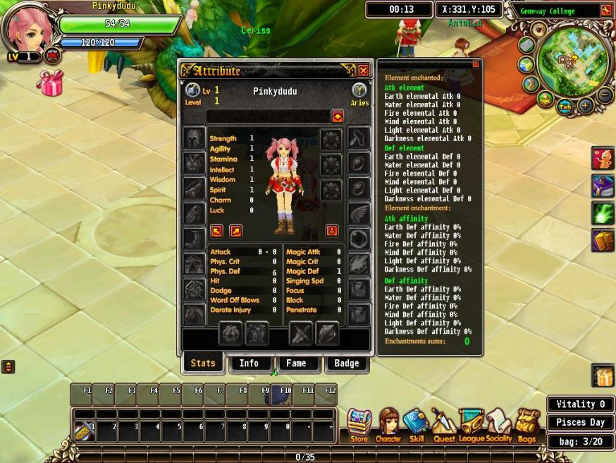 luvinia online character info